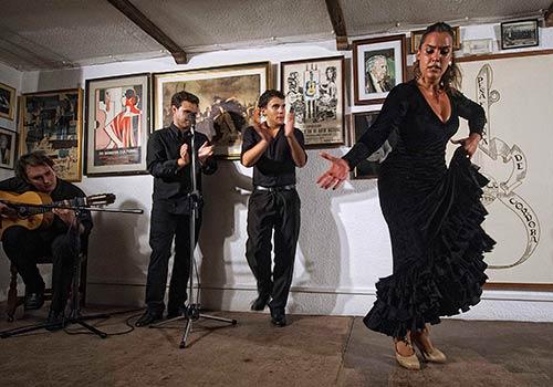 La bailaora Clara Gutiérrez en uno de los espectáculos de la últiam edición del Circuito Solera Flamenca. Foto: Toni Blanco.