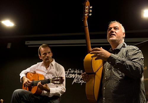 Los profesores Faustino Núñez y David Pino, en una de las conferencias de 'Flamenco Forum'. Foto: Miguel Valverde.
