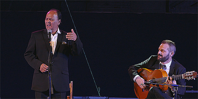 Manuel Moreno Maya 'El Pele', durante su actuación en el Festival Flamenco de Córdoba 2016.