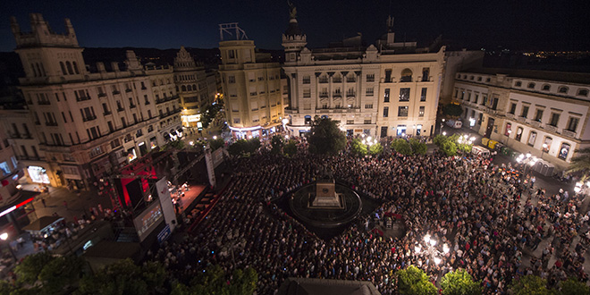 Panorámica de la Plaza de las Tendillas en la Noche Blanca del Flamenco 2016. Foto: Rafa Alcaide.