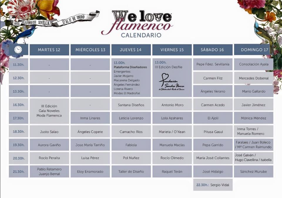 Horarios y diseñadores de We love Flamenco 2016.