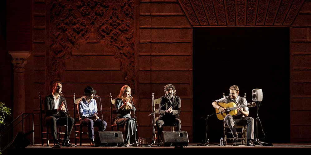 Arcángel, Duquende y Rocío Márquez, acompañados por la guitarra de Dani de Morón. Foto: Óscar Romero.