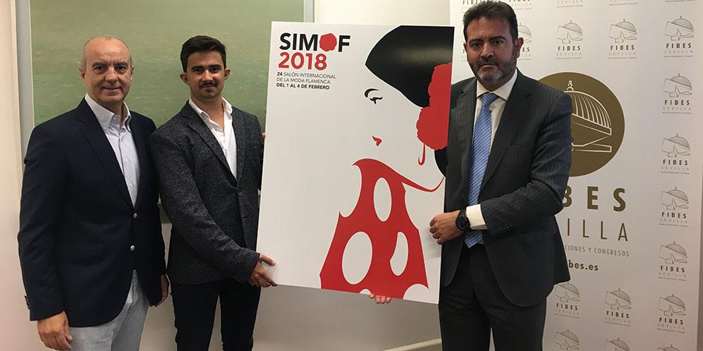 El gerente de FIBES, Jesús Rojas; el ganador, Mario Muñoz, y el director de S.A.C.O, Fernando Rodríguez, en la presentación del cartel oficial de SIMOF 2018. Foto: FIBES.