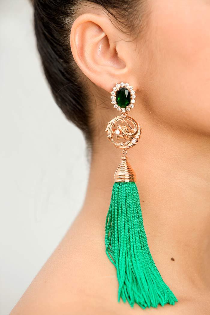 Pendiente de Flamenca de Borla - Pendientes de Flamenca artesanales - Pendientes de Flamenca Originales - Pendiente de esmeralda - Pendientes de diamantes - Pendientes de oro rosa - Joyería cordobesa