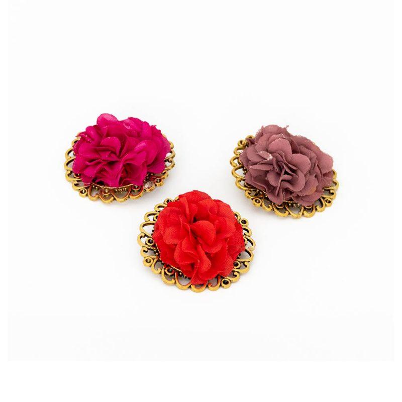 Broche de Flamenca de flores - Complementos de flamenca -Moda Flamenca - Flores de Flamenca - Flores de tela - Marbearte - Flores hechas a mano - Complementos de flamenca artesanales