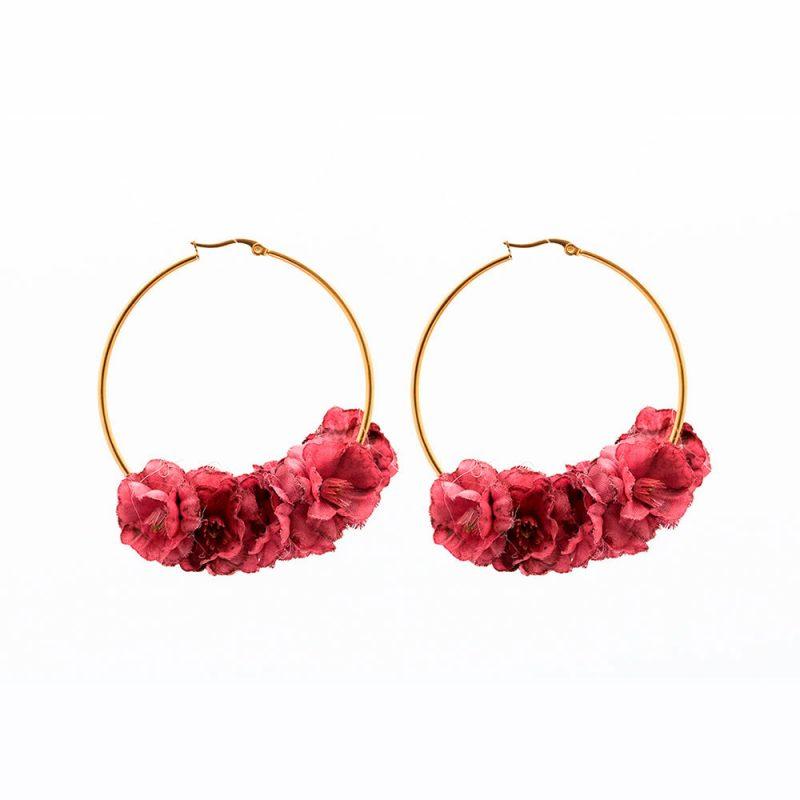 Pendientes de Flamenca 2018 - Pendientes de Flamenca de flores - Pendientes de flamenca de aro - Pendientes de Flamenca Rojos - Buganvilla - Pendientes de Flamenca Dorados - Pendientes de Flamenca originales - Pendientes de Flamenca artesanales - Pendientes de Flamenca Hechos a Mano - Marbearte