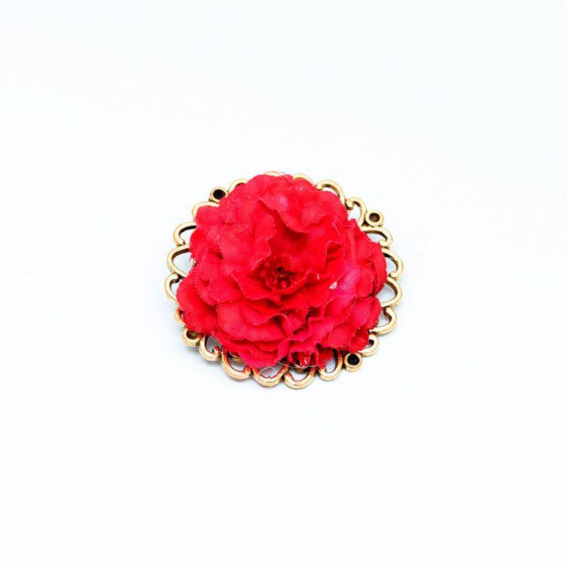 Broche de Flamenca de flores - Complementos de flamenca -Moda Flamenca - Flores de Flamenca - Flores de tela - Marbearte - Flores hechas a mano - Complementos de flamenca artesanales - Color Rojo