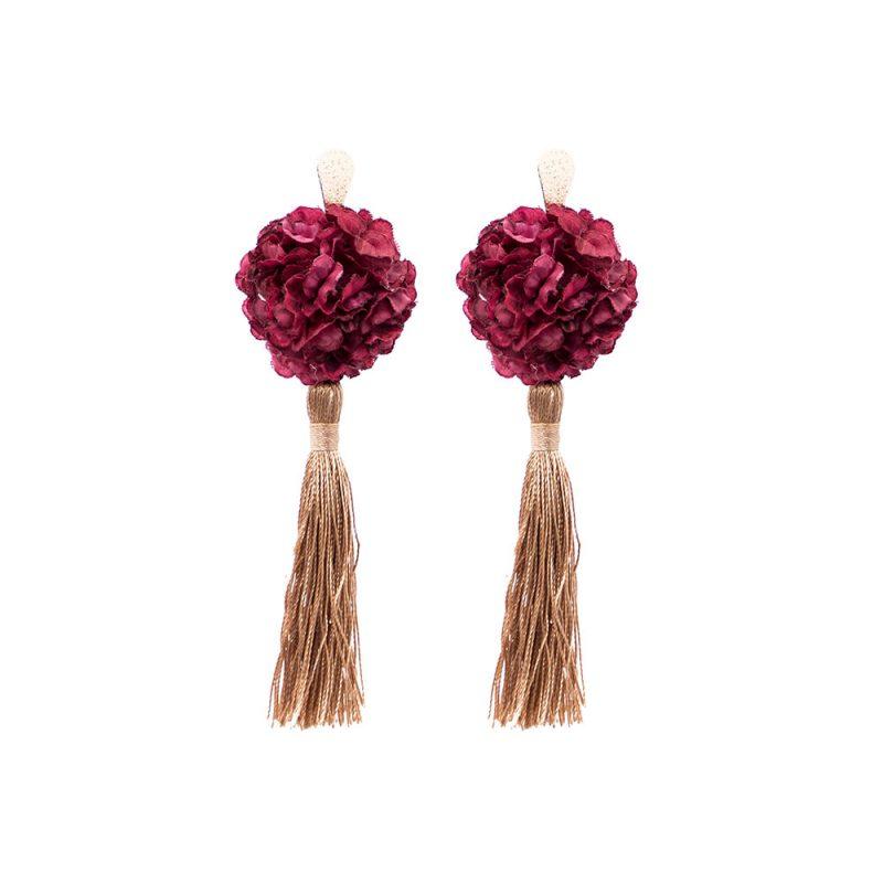 Pendientes de Flamenca 2018 - Pendientes de flamenca de borla - Pendientes de Flamenca de Flores - Pendientes de Flamenca Burdeos - Pendientes de Flamenca Clavel - Pendientes de Flamenca originales - Pendientes de Flamenca artesanales - Pendientes de Flamenca Hechos a Mano - Marbearte