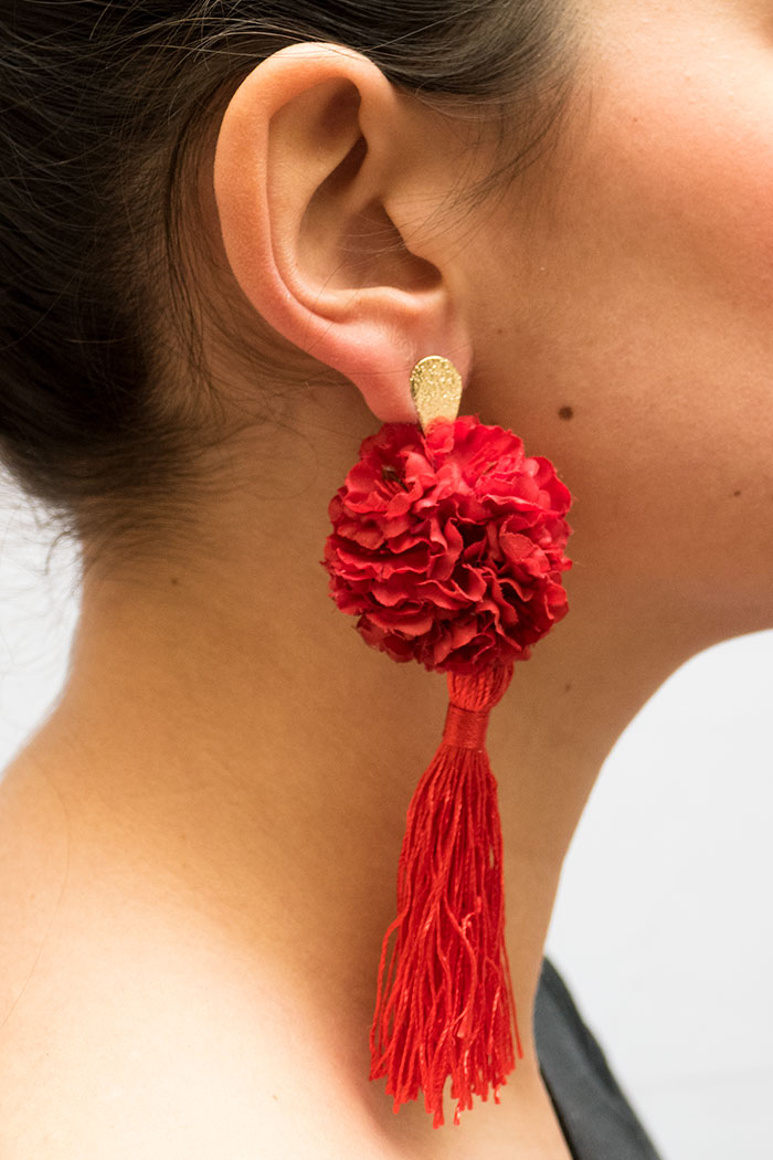 Pendientes de Flamenca 2018 - Pendientes de flamenca de borla - Pendientes de Flamenca de Flores - Pendientes de Flamenca Rojos - Pendientes de Flamenca Clavel - Pendientes de Flamenca Dorados - Pendientes de Flamenca originales - Pendientes de Flamenca artesanales - Pendientes de Flamenca Hechos a Mano - Marbearte