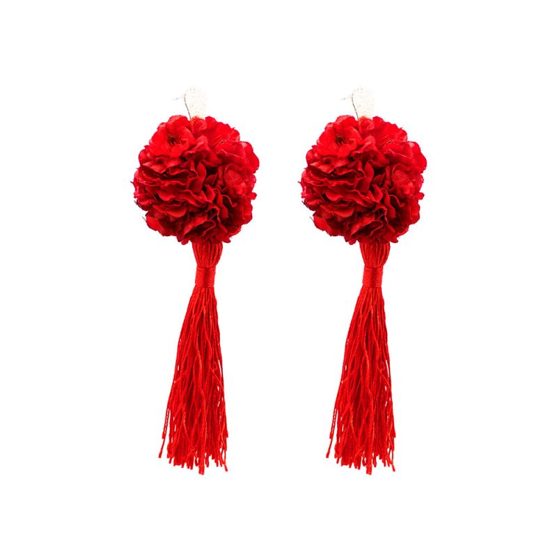 Pendientes de Flamenca 2019 - Pendientes de flamenca de borla - Pendientes de Flamenca de Flores - Pendientes de Flamenca Rojos - Pendientes de Flamenca Clavel - Pendientes de Flamenca Dorados - Pendientes de Flamenca originales - Pendientes de Flamenca artesanales - Pendientes de Flamenca Hechos a Mano - Marbearte