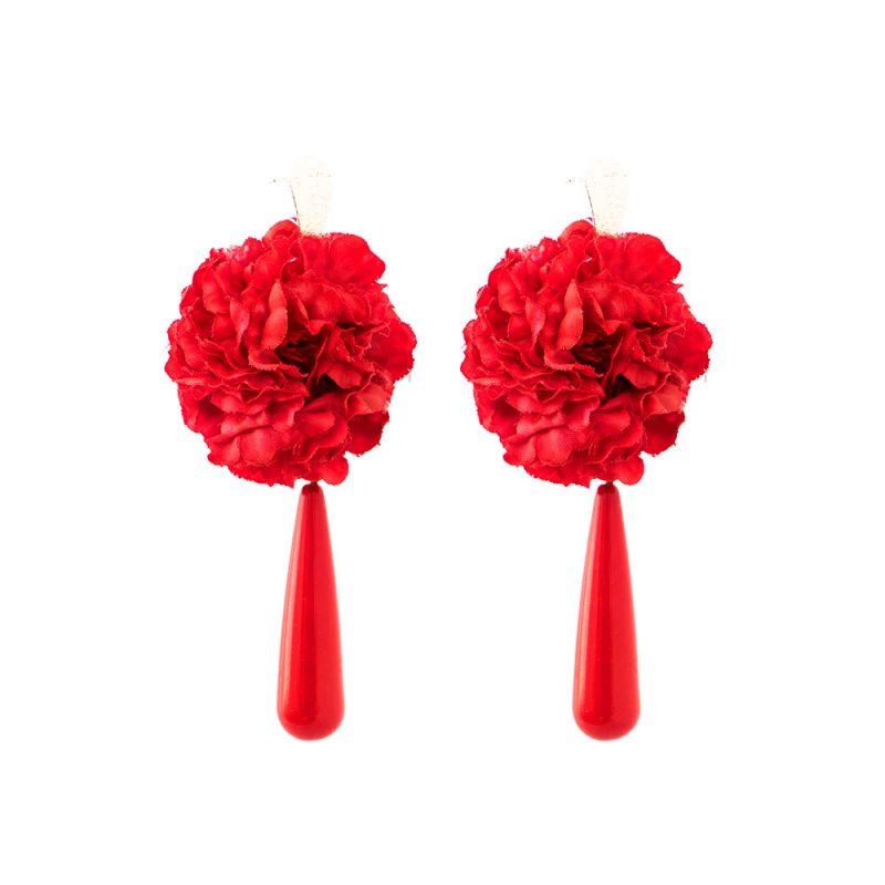 Pendientes de Flamenca de lágrima - Pendientes de flamenca 2018 - Pendientes de Flamenca de Flores - Pendientes de Flamenca Rojos - Pendientes de Flamenca Clavel - Pendientes de Flamenca de acetato - Pendientes de Flamenca originales - Pendientes de Flamenca artesanales - Pendientes de Flamenca Hechos a Mano - Marbearte -