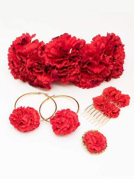 Conjunto de flamenca - Complementos de Flamenca 218 - Peinecillos y pendientes de flamenca - Flores de Flamenca - Broche de flamenca - Pendientes de flamenca dorados -
