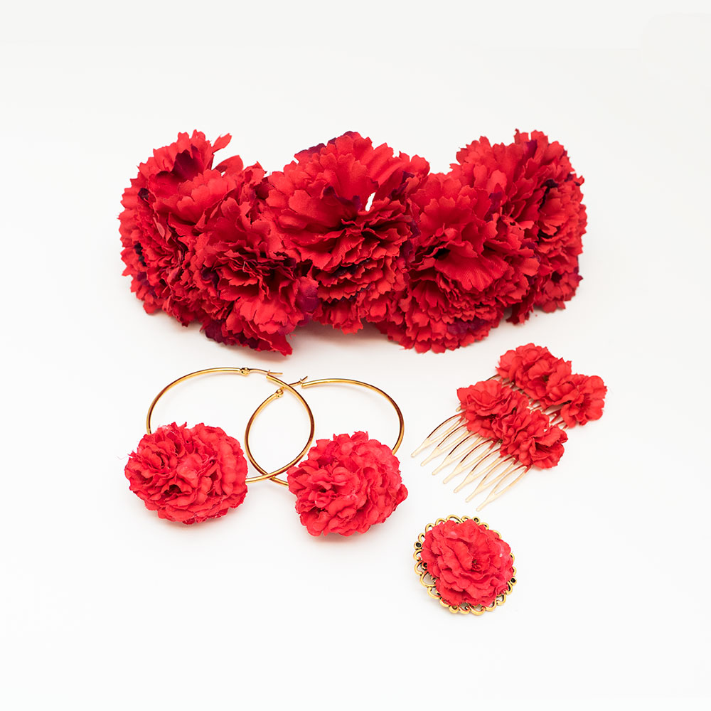 c1bc0497df78 Conjunto de flamenca - Complementos de Flamenca 218 - Peinecillos y pendientes  de flamenca - Flores
