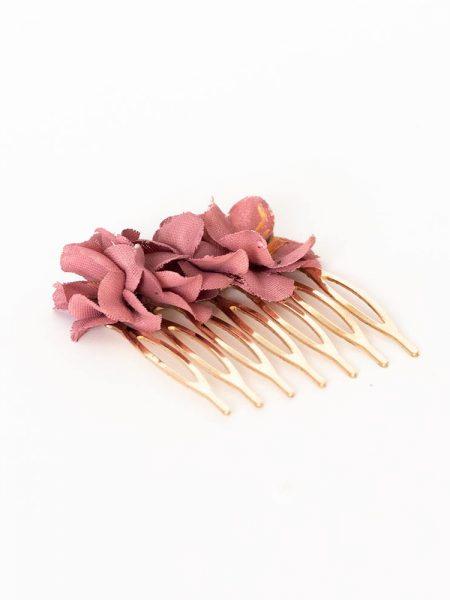 Peinecillos de flores - Complementos de flamenca -Moda Flamenca - Flores de Flamenca - Flores de tela - Marbearte - Flores hechas a mano - Complementos de flamenca artesanales - Color Burdeos