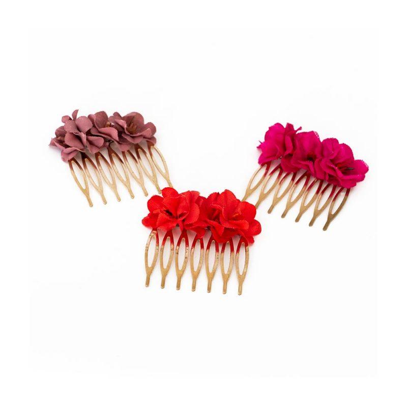 Peinecillos de flores - Complementos de flamenca -Moda Flamenca - Flores de Flamenca - Flores de tela - Marbearte - Flores hechas a mano - Complementos de flamenca artesanales
