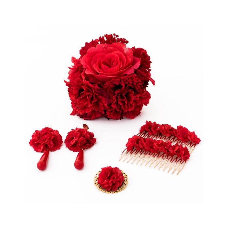 Conjunto de flamenca - Complementos de Flamenca 2018 - Peinecillos y pendientes de flamenca - Ramillete de Flores de Flamenca - Broche de flamenca - Pendientes de flamenca de lágrima -