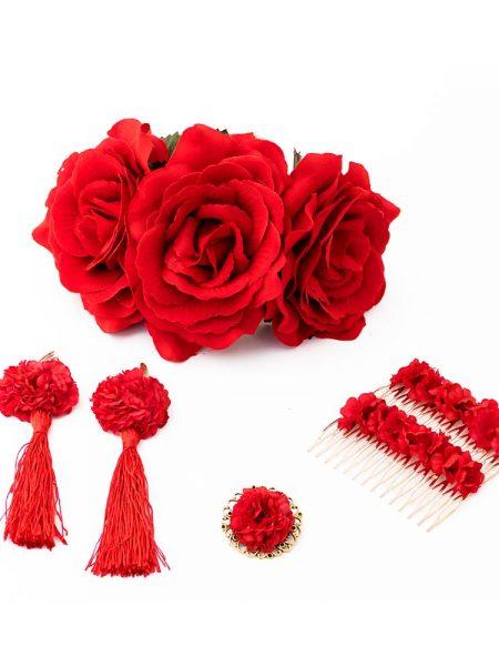Conjunto de flamenca - Complementos de Flamenca 2018 - Peinecillos y pendientes de flamenca - Flores de Flamenca - Broche de flamenca - Pendientes de flamenca hechos a mano - Pendientes de flamenca originales - complementos de flamenca artesanales