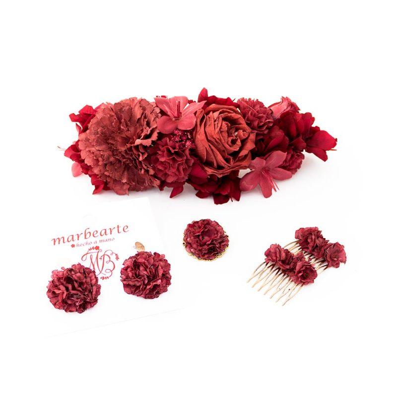 Conjunto de flamenca - Complementos de Flamenca 2018 - Peinecillos y pendientes de flamenca - Tocado de Flores de Flamenca - Broche de flamenca - Pendientes de flamenca de flores -