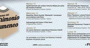 Programación 'Semana del Patrimonio Flamenco' organizada por el Centro Flamenco Fosforito en conmemoración del Día del Flamenco.