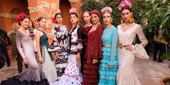 Modelos vestidas con trajes de flamenca de algunos de los diseñadores participantes en Simof 2019. Foto: Chema Soler.