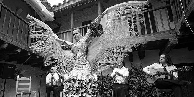 La bailaora Alba Luna, en una de las actuaciones de Matinales Flamencas. Foto: Toni Blanco.