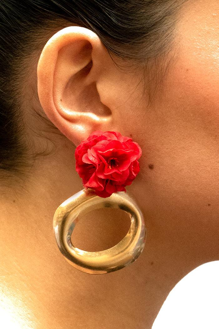 Pendientes de Flamenca 2019 - Pendientes de flamenca de aro ovalado - Pendientes de Flamenca Rojos- Pendientes de Flamenca Dorados - Pendientes de Flamenca originales - Pendientes de Flamenca artesanales - Pendientes de Flamenca Hechos a Mano - Marbearte