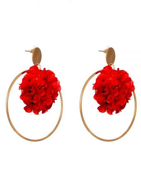 Pendientes de Flamenca 2019 - Pendientes de flamenca de flores y aro grande dorado- Pendientes de Flamenca Rojos- Pendientes de Flamenca Dorados - Pendientes de Flamenca originales - Pendientes de Flamenca artesanales - Pendientes de Flamenca Hechos a Mano - Marbearte