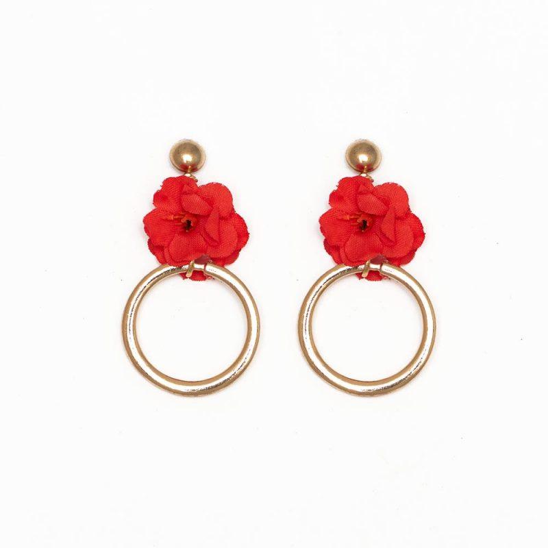 Pendientes de Flamenca 2019 - Pendientes de flamenca de aro pequeño dorado- Pendientes de Flamenca Rojos- Pendientes de Flamenca Dorados - Pendientes de Flamenca originales - Pendientes de Flamenca artesanales - Pendientes de Flamenca Hechos a Mano - Marbearte