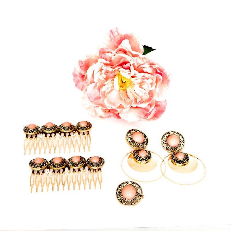 Conjunto de flamenca - Complementos de Flamenca 2019 - Peinecillos y pendientes de flamenca - Flores de Flamenca - Broche de flamenca - Pendientes de flamenca dorados - Accesorios de Flamenca - Rosa de tela - Tocado de flamenca - Tocado de flores - Pendientes de flamenca hechos a mano - Pendientes de Flamenca originales - Tocado florar con Peonia - Peonia de tela