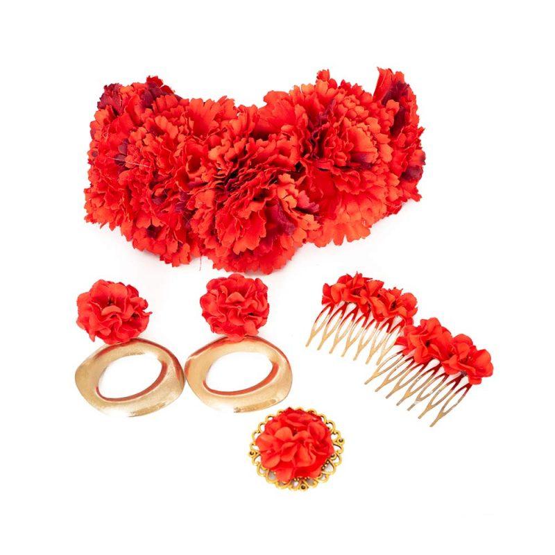 Conjunto de flamenca - Complementos de Flamenca 2019 - Peinecillos y pendientes de flamenca - Flores de Flamenca - Broche de flamenca - Pendientes de flamenca dorados - Pendientes de aros ovalados - Accesorios de Flamenca - Rosas de tela - Tocado de flamenca - Tocado de flores - Pendientes de flamenca hechos a mano - Pendientes de Flamenca originales - Semicorona de rosas - Semicorona de flores