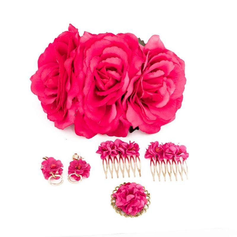 Conjunto de flamenca - Complementos de Flamenca 2019 - Peinecillos y pendientes de flamenca - Flores de Flamenca - Ramilletes de flamenca - Broche de flamenca - Pendientes de flamenca dorados - Accesorios de Flamenca - Claveles de tela - Tocado de flamenca - Tocado de flores - Pendientes de flamenca hechos a mano - Pendientes de Flamenca originales -