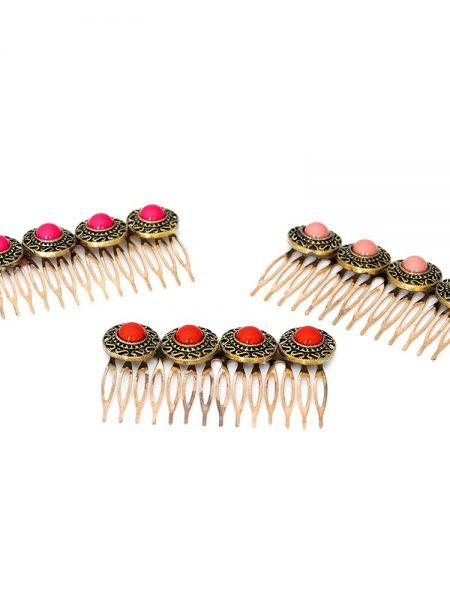 Peinecillos de flamenca - Complementos de flamenca -Moda Flamenca Complementos de flamenca artesanales - Peinecillos de flamenca dorados - Peinecillo de flamenca labrados - Peinecillos de flamenca con piedra - Peincecillos de flamenca rojos