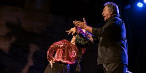La bailaora Mercedes de Córdoba, en uno de los momentos de su actuación en el Patio de San Basiliio. Foto: Elena de la Cuesta.