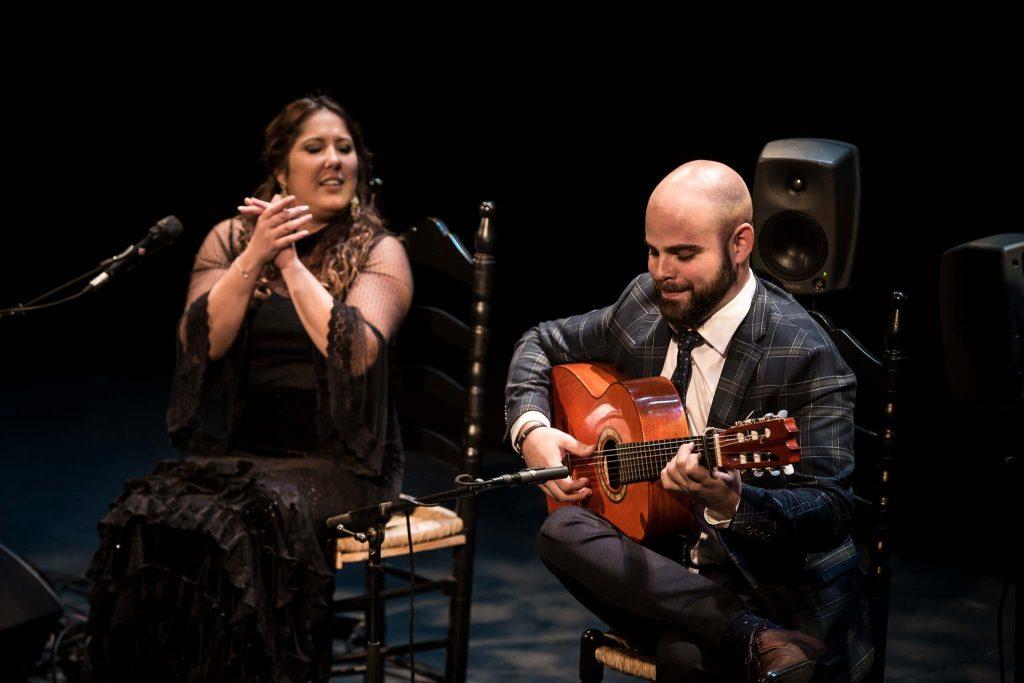 Alberto López, en uno de los momentos de su actuación en la fase final del Concurso Nacional de Arte Flamenco de Córdoba 2019. Foto: M. Valverde.
