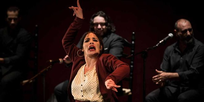 La bailaora Águeda Saavedra, durante uno de los momentos de su actuación en la final del Concurso Nacional de Arte Flamenco de Córdoba 2019. Foto: M. Valverde.