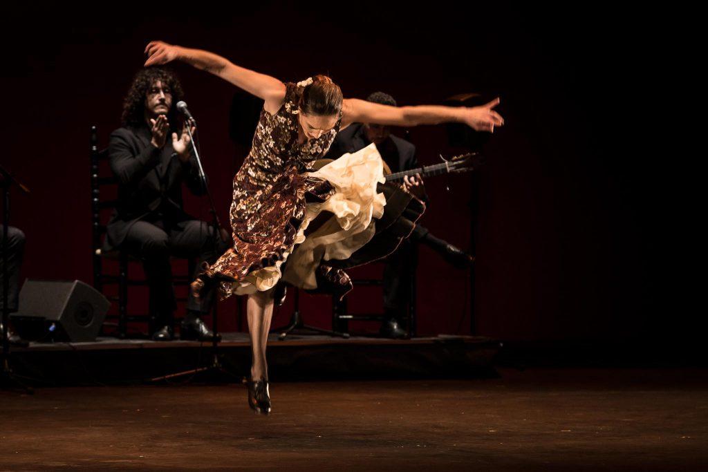Florencia Oz', en uno de los momentos de su actuación en la fase final del Concurso Nacional de Arte Flamenco de Córdoba 2019. Foto: M. Valverde.