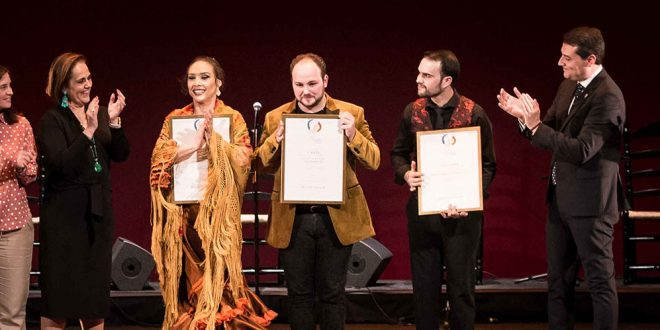 Florencia, Oz, Francisco Escudero 'E Perrete' y José Fermín Fernández, ganadores de XXII Concurso Nacional de Arte Flamenco de Córdoba. Foto: M. Valverde.