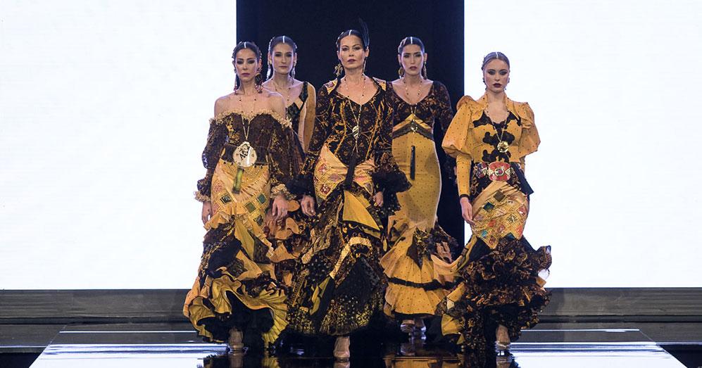Nueva colección de trajes de flamenca de Aurora Gaviño en Simof 2020.. Foto: Chema Soler.
