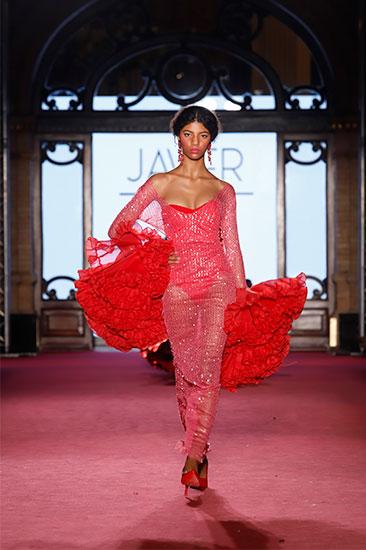Nueva colección de moda flamenca de Javier León en la pasarela We love Flamenco 2020. Foto: Chema Soler.