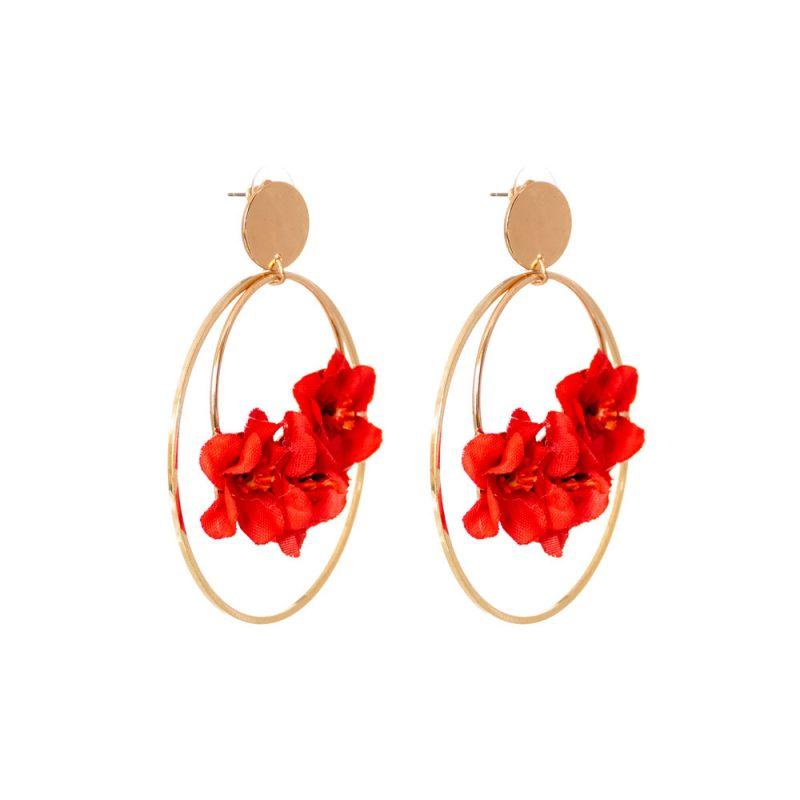 Pendientes de Flamenca 2020 - Pendientes de flamenca de aro dorado- Pendientes de Flamenca de flores- Pendientes de Flamenca Dorados - Pendientes de Flamenca originales - Pendientes de Flamenca artesanales - Pendientes de Flamenca Hechos a Mano - Marbearte