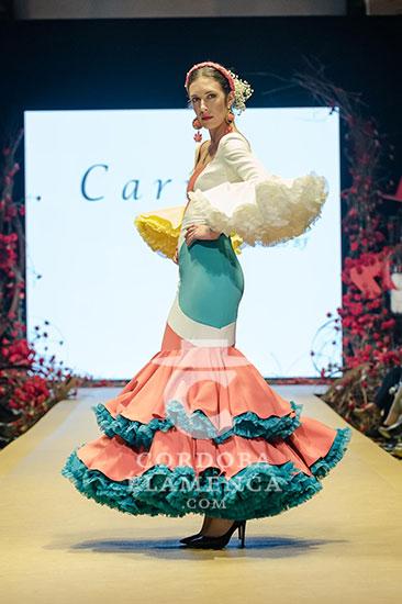 Nueva colección de trajes de flamenca de Cariola en la Pasarela Flamenca de Jerez 2020. Foto: Christian Cantizano.