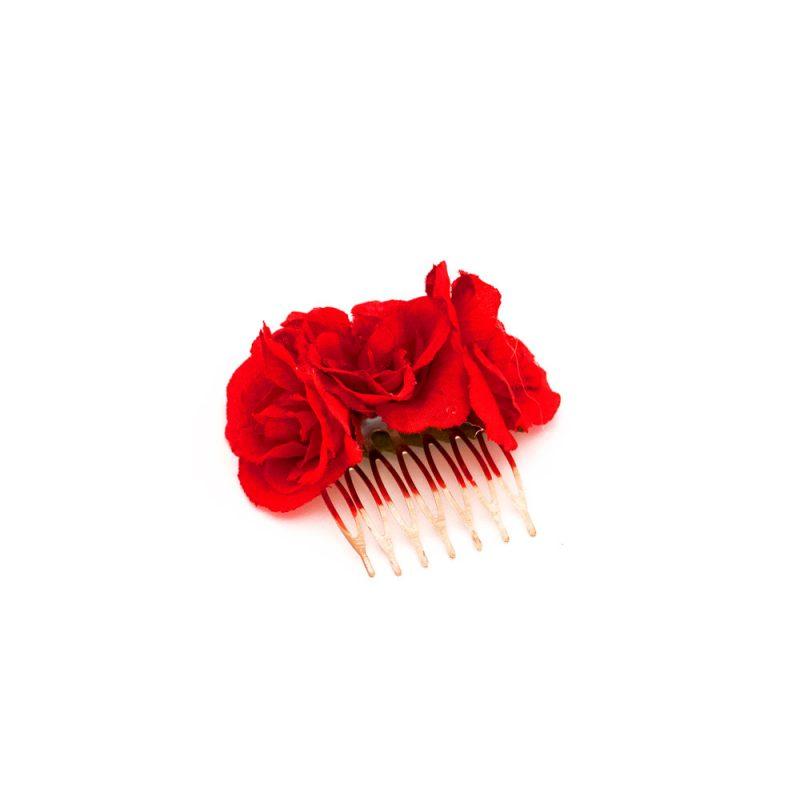 Peinecillos de flamenca - Peinecillos de flamenca con flores - Peinecillos de flamenca con rosas - Peinecillos de flamenca hechos a mano - Peinecillos de flamenca originales - Complementos de Flamenca originales - Peinecillos de flamenca artesanales - Peinecillos de flamenca de flores rojas