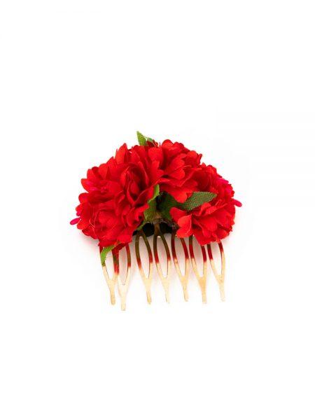 Peinecillos de flamenca - Peinecillos de flamenca con claveles - Peinecillos de flamenca 2020 - Peinecillos de flamenca hechos a mano - Peinecillos de flamenca originales - Complementos de Flamenca originales - Peinecillos de flamenca artesanales - Peinecillos de flamenca de flores rojas -