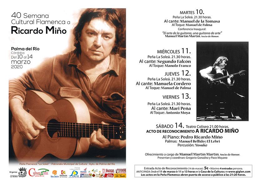 Semana Cultural Flamenca de Palma del Río 2020. Programación. Recitales. Conciertos. Conferencias. Exposiciones